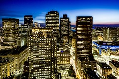 Boston At Night ((Jessica)) Tags: focus focuspeaking boston rokinon wideangle sonya6000 massachusetts customhousetower downtown city night rokinon12mm a6000 alpha skyscrapers newengland alpha6000 citylights view rooftops sonyalpha