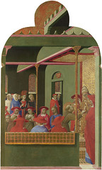 Sassetta — St. Francis before Pope Honorius III, 1437-1444. Painting: Tempera on wood panel, 88 x 53 cm. National Gallery, London.  One of seven panels of a polyptych that Sassetta made for the high altar of San Francesco, Borgo Sansepolcro (i.e. the San (ArtAppreciated) Tags: fineart painting blogs tumblr artblogs artappreciated artoftheday artofdarkness artofdarknessco artofdarknessblog san sepolcro altarpiece