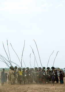 Dimi ceremony in the Dassanech tribe to celebrate circumcision of teenagers, Omo Valley, Omorate, Ethiopia
