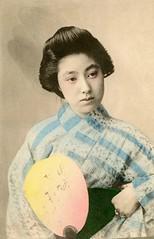 Koen of Asakusa 1905 (Blue Ruin 1) Tags: geigi geiko geisha uchiwa roundfan yukata summerkimono japanese japan meijiperiod 1900s postcard asakusa tokyo koen