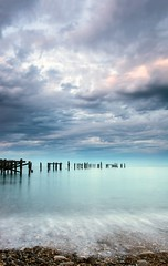 The Derelict Pier (HannahGE) Tags: hannahgerrish light sunset weather blue purbeck dorset ndfilter longexposure leadin clouds pier water coast swanage