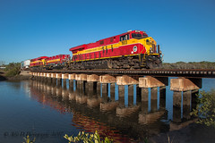 FEC 226 @ St. Augustine, FL (Darryl Rule's Photography) Tags: 2017 218 226 april bridge diesel diesels fec fl florida floridaeastcoast freight freighttrain ge gevo intermodal northbound railroad railroads river saintaugustine sansebastianriver spring staugustine sun sunrise train trains