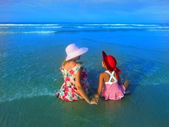 My subjects since I could hold a camera 😂 (chrisivuk) Tags: youngphotographer subject blue sunset hats stripes flowerdress motherdaughter ocean