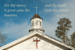 Unto the Clouds (Back Road Photography (Kevin W. Jerrell)) Tags: churches churchsteeples quotes backroadphotography christianity spring bluesky nikond60 faith leecountyvirginia jonesville steeples historic