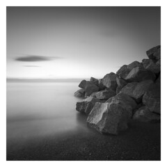 Reinforcement (picturedevon.co.uk) Tags: hollicombe beach torquay preston paignton torbay englishriviera devon england uk bw bnw blackandwhite mono sea water sunrise fineart le longexposure morning rock sand sky minimal grey ndfilter waves tide canon wwwpicturedevoncouk