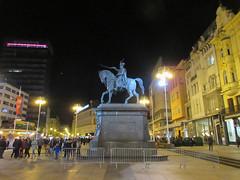 Trg bana Jelačića at night with Josip Jelačić statue, Zagreb, Croatia (Paul McClure DC) Tags: zagreb croatia hrvatska balkans feb2017 historic architecture