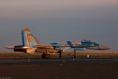 Kazakhstan Air Force Sukhoi Su-27M2 14 Yellow ground check complete before take-off at sunset during KADEX-2016, Astana Kazakhstan (Jeroen.B) Tags: 2016 airport defence expo kadex kazachstan kazakhstan uacc қазақстанның air force sukhoi su27m2 14 su27 27 ye yellow 36911031717 kadex2016 astana