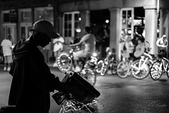 Get Up N Ride  - NOLA II (PJ Resnick) Tags: neworleans pjresnick perryjresnick pjresnickgmailcom pjresnickphotographygmailcom ©2017pjresnick ©pjresnick contrast digital light shadow highspeediso fujifilm fuji fujinon xf resnick rectangle rectangular white animalia portrait filmsimulation nola fujifilmxpro2 xpro2 fujixpro2 35mm fujinon35mm fuji35mmf14 street streetphotography night bike cycle getupnride man color colour door wall acrosr fujiacrosr 4x6 french quarter