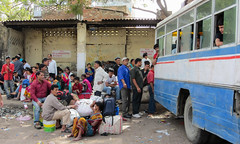 IMG_31018 (Manveer Jarosz) Tags: bharat hindustan india mathura uttarpradesh bus cheap crowd line lineup lowbudget luggage outdoors outside people ride sitting station travel travelers travellers waiting
