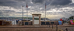Commemorative Monument to the Mayflower (Brett of Binnshire) Tags: quay england bay monument highdynamicrange weather clouds devon historicalsite lrhdr plymouth manipulations harbor lightroomhdr architecture locationrecorded column hdr 2391 water mayflower 1620