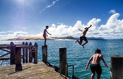 Hokianga kids (loveexploring) Tags: hokiangaharbour maori newzealand northland omapere omaperewharf children fun joy jumping kids play sea summer sun water wharf