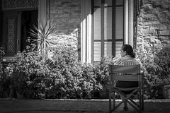 Street Keeper (_MootMoot_) Tags: lefkara street sun summer alone rue cyprus chypre urban quiet old monochrome noiretblanc place patience sitting keeper guardian watchwoman woman f18 femme light moment morning canon candid vieille vieux bw blackwhite black white nb noir blanc nl 70d 50mm
