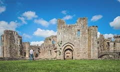 (Rhia.photos) Tags: wales welsh cymru castle raglan raglancastle outdoor history historic human humanelement walk green grass angle perspective light colors colours blue sky clouds travel image photograph photo photography southwales southeastwales fuji fujifilm