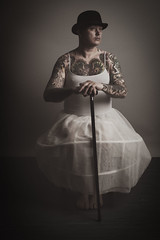 all dressed up and no place to go (Ferdinand Bart Alst - Pixel Your Soul Photography) Tags: portait selfportrait selfie bowlerhat cane walkingstick dress male tutu tattoo tattood bodysuit fineart darkart art lowkey ferdinandbartalst pixelyoursoulphotography