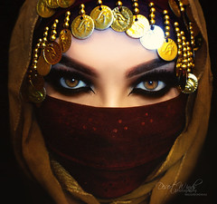 Gypsy (eset is) Tags: blue green beautiful beauty dark photography gold bahrain eyes women veil uae hijab culture makeup jewelry arab kuwait saudiarabia emirate qatar arabicmakeup