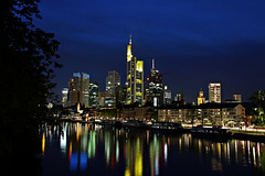 Frankfurt am Main, Skyline (Andy von der Wurm) Tags: city skyline reflections river lights town colorful europa europe downtown hessen nightshot centre main illuminated stadt bluehour colourful fluss zentrum soe farbig bunt frankfurtammain lichter nachtaufnahme hesse langzeitbelichtung reflektionen blauestunde beleuchtet longtermexposure frankfurtam supershot hobbyphotograph grosstadt dragondaggerphoto andreasfucke andyvonderwurm