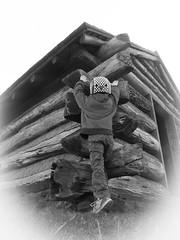 Cabin climber (Thiophene_Guy) Tags: blackandwhite bw log cabin utata vignette originalworks ironphotographerchallenge ironphotographer thiopheneguy xz1 olympusxz1 apr2014 utata:project=ip194
