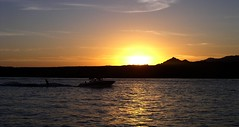 Colorado River - last ski of the day (tquist24) Tags: sunset summer arizona sun silhouette river geotagged colorado desert olympus coloradoriver waterskiing parker waterski c4100z olympusc4100z