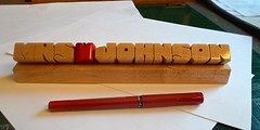 Maple Desk Name with Apple for Teacher (DustyNewt) Tags: wood apple plaque wooden carved maple display desk handmade name shelf teacher woodworking personalized dustynewt desknameplate