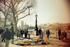 A walk on the banks of the Thames I (Sabrina Steiger) Tags: life panorama london tower thames towerbridge guard bank londoneye e fluss shard themse stpauls