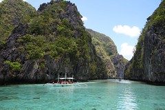 (marcwiz2012) Tags: water rock landscape boat asia crystal turquoise philippines formation clear karst elnido palawan outrigger