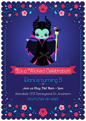 Maleficent Party invitation (minercia) Tags: sleeping roses love film beauty design witch character evil disney queen invitation pixar kawaii angelina jolie witches maleficent printable malefica