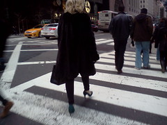 New York City, 57th and Madison (Dan_DC) Tags: may112014 woman crossing crosswalk blond platinum fashion pumps heels shoes zebra fromtheback people lady fashionable walking city street urban dressed spikeheels uniquetonewyorkcity uniquelynewyork newyorkcity nyc streetlevel urbanscene executive vip privilege license flatfee rf stock imagebank cordiality etiquette protocol formality conformity editorial society civilized executie candid refinement humaninterest feature urbanbest glamor glamour glamorous footwear cosmopolitan