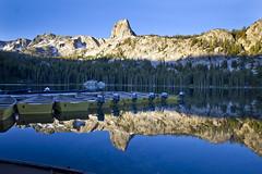 Lake George Sunrise Reflection (BDFri2012) Tags: california trees reflection sunrise reflections boats rocks lakegeorge mammoth mammothlakes rockformation sierranevadamountains crystalcrag