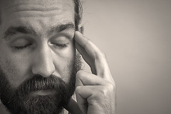 Day 136 (Michael Rozycki) Tags: portrait white black face self canon project hair beard temple eyes closed hand personal touch fingers 7d exasperation 1755