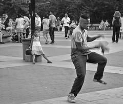 Shoe Dance - D7K 7399 ep gs (Eric.Parker) Tags: park nyc bw newyork fountain shoe dance manhattan dancer washingtonsquare bigapple 2013