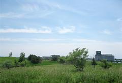 Tifft Farms grassy hill, grain elevator beyond (jdmonin) Tags: field cirrus tifft