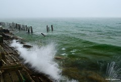 Waves (mswan777) Tags: park lake seascape color nature water weather fog landscape outdoors nikon rocks waves michigan spray pilings d5100