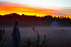 Fog and sunset (Elvira von der Lippe) Tags: sunset sky orange sun house colors girl fog farm watching solnedgang tke ker solne