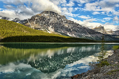 Nature's Show Again (Jeff Clow) Tags: morning travel vacation mountain lake reflection nature water landscape bravo nirvana peaceful serenity serene tranquil banffnationalpark waterfowllake canadianrockies mountchephren