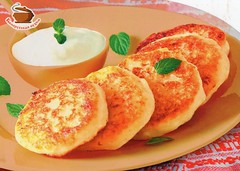 Farmers Cheese Pancakes (Syrniki) (caijsa's postcards) Tags: food traditions postcrossing drinks sweets belarus goodies