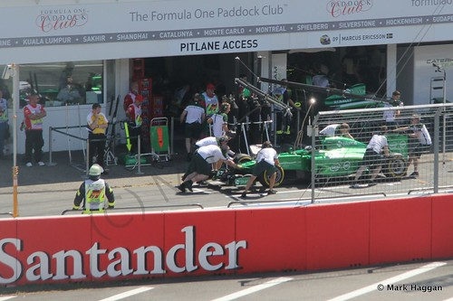 Kamui Kobayashi returns to the pits in Free Practice 3 ahead of the 2014 German Grand Prix