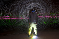 invisible man (scienceduck) Tags: light ontario canada lightpainting beach me night july wideangle s moi led huron lakehuron 2014 ipperwash scienceduck 5c4r7