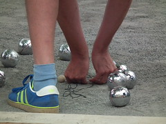 Boules (amy's antics Will catch up with commenting ASAP) Tags: people orange feet silver hands arms legs balls wells scooter pottery boules gravel 365d