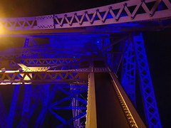 Aerial Lift Bridge in Duluth lit for July 4th fireworks