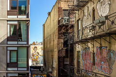 Chelsea, Manhattan (D. Coleman Photography) Tags: chelsea manhattan new york city nyc high line park rail trail conversion buildings architecture graffiti mural streetart art windows balcony fire escape cities urban old modern