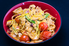 Pork red curry (garydlum) Tags: redchillies belconnen lemonzest porkbelly redonion sugarsnappeas coconutcream lemonjuice chillies pork noodles redcurrypaste canberra jalapeñopeppers tomatoes