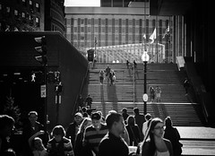 the stairs (Rabican7) Tags: street streetphoto urban boston massachusetts downtown stairs people bw ma