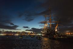 HMS Warrior [Explored} (AB 7) Tags: ship navy portsmouth uk hms warrior night water sea ocean lights