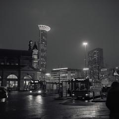 Night Departure (ucn) Tags: filmdev:recipe=11267 ilfordhp5400 adoxadoluxatm49 film:brand=ilford film:name=ilfordhp5400 film:iso=6400 developer:brand=adox developer:name=adoxadoluxatm49 frankfurtammain hauptbahnhof busbahnhof busstation centralstation night nacht weltaweltax tessar