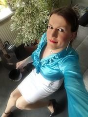 Sunday Morning (Rikky_Satin) Tags: satin silk blouse pencil skirt highheels pumps crossdresser transvestite transgender tranny tgirl