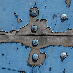bolt heads, boards & blues (MyArtistSoul) Tags: oxnard ca weathered peeling paint blue wood boards bolt heads closeup bilateral symmetry minimal simple abstract texture urban square 3405}