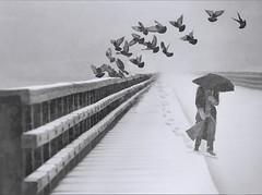 birds and snow 2 (skizo39) Tags: collage layers art digitalprocessing digitalart photomanipulation graphical design creation artistic umbrella monochrome birds bridge