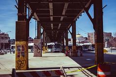 WIlliamsburg Bridge Plaza (zerokhmer) Tags: nikon d300 35mm 35mm18 3518 nikkor35mm18 afs dx f18 f18g newyork ny bus busses williamsburg bridge brooklyn