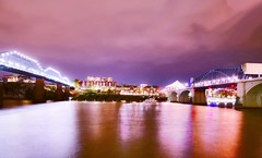 A Walnut and Market Street Bridge Light Show (Roland 22) Tags: evening night glow flickr longexposure tennesseeriver chattanoogatennessee walnutstreetbridge marketstreetbridge colors reflection sky lightshow northshore coolidgepark