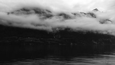 """Walensee ² "" (helmet13) Tags: iphone6s bw landscape switzerland walensee lake mountains clouds silence peaceful thealps aoi heartaward peaceaward 100faves world100f"